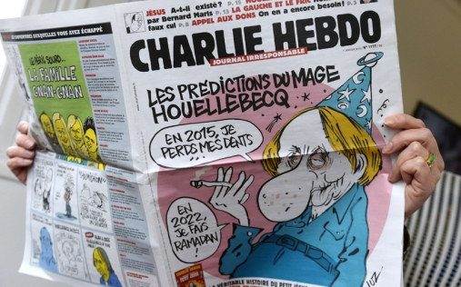 On the day of the massacre, Charlie Hebdo published a satire of Houllebecq on its cover. (Photo Courtesy of: www.Telegraph.co.uk)