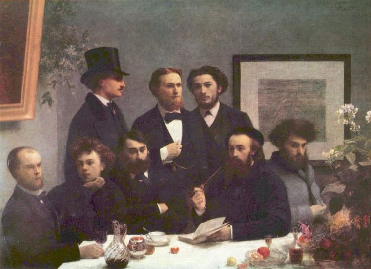 Arthur Rimbaud (second from the left) and Paul Verlaine (Second from the right) in a painting by Henri Fantin-Latour