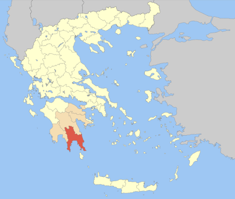 Laconia is the province in red at the bottom of Greece